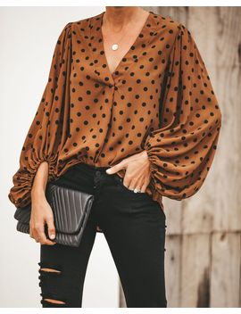 Count On Me Polka Dot Balloon Sleeve Blouse by Vici