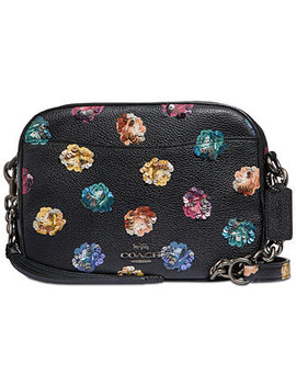 Rainbow Rose Camera Bag In Pebble Leather by Coach