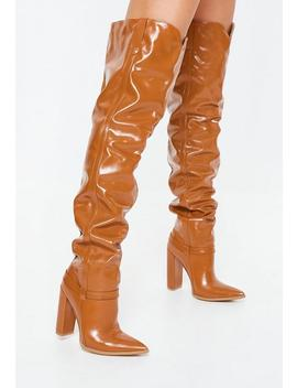 Tan Block Heel Faux Leather Thigh High Boots by Missguided