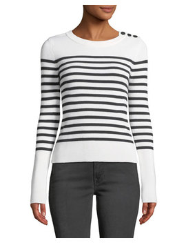 Button Shoulder Striped Merino Wool Sweater by Frame