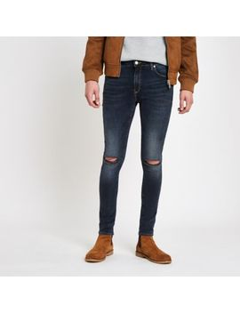 Dark Blue Danny Super Skinny Ripped Jeans by River Island