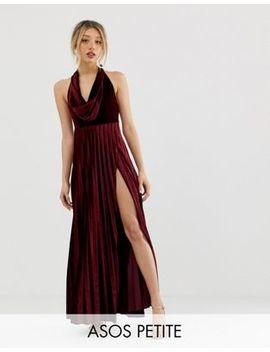Asos Design Petite   Robe Longue Plissée En Velours Avec Col Bénitier by Asos Design
