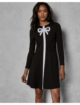 Bow Neck Skater Dress by Ted Baker