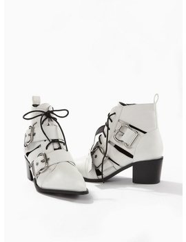 Abigail White Buckle Boots by Miss Selfridge