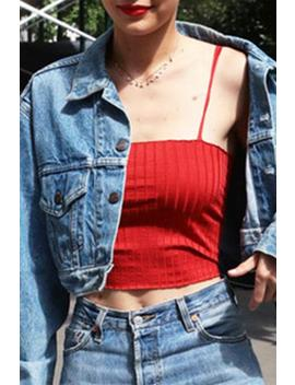 Simple Red Strappy Crop Top by Lupsona