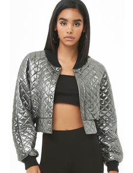 Quilted Metallic Bomber Jacket by Forever 21