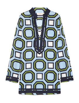 Geo Printed Grosgrain Trimmed Cotton Kaftan by Tory Burch