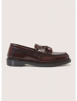 Burgundy Leather Slater Penny Loafers by Topman
