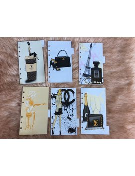 Planner Dividers Inserts Fashion Illustration Lv Agenda Personal Filofax Pocket A5 Filofax Planner Dashboards, Planner Accessories, Set Of 6 by Etsy