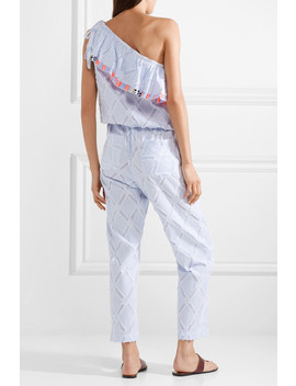 Besu One Shoulder Fringed Cotton Blend Jacquard Jumpsuit by Lem Lem