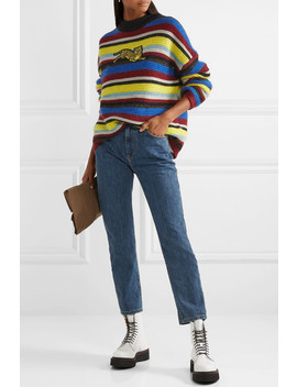 Jumping Tiger Appliquéd Striped Wool Blend Sweater by Kenzo