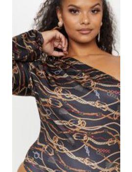 Plus Black Chain Print One Shoulder Printed Bodysuit by Prettylittlething
