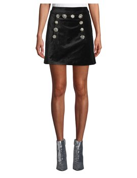 Ording Velvet Button Front Short Skirt by Veronica Beard