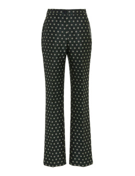 Kick Flare Tailored Jacquard Trouser by Alexachung