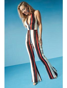 Halterneck Striped Flare Jumpsuit by Boohoo