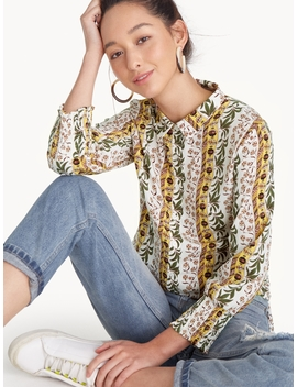 Tropical Side Slit Long Shirt by Pomelo