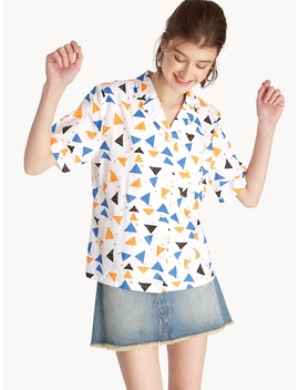 Abstract Print Oversized Shirt   Blue by Pomelo