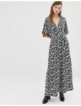 Glamorous Jumpsuit With Kimono Sleeves In Tonal Leopard by Glamorous