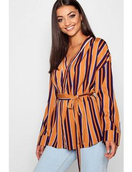 Tall Stripe Wrap Tie Waist Blouse by Boohoo
