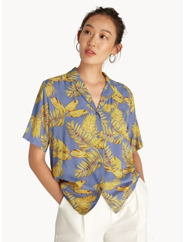 Tropical Leaves Button Up Shirt   Purple by Pomelo