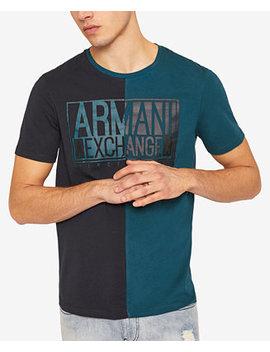  X Armani Exchange Men's Colorblocked Split Logo T Shirt by A X Armani Exchange