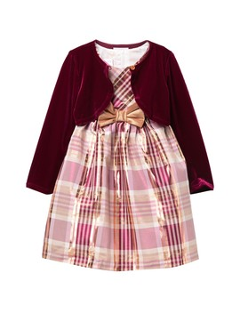 Tafetta Plaid Dress With Velvet Cardigan (Toddler Girls) by Iris & Ivy