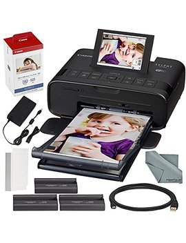 Canon Selphy Cp1300 Compact Photo Printer (Black) With Wi Fi And Accessory Bundle W/Canon Color Ink And Paper Set by Canon