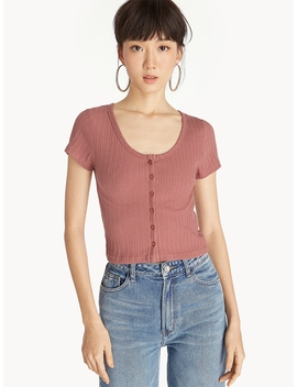 Ribbed Front Button Crop Tee   Pink by Pomelo