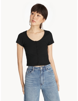 Ribbed Front Button Crop Tee   Black by Pomelo