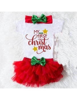 3 Pcs Christmas Newborn Baby Girls Romper Jumpsuit+Tutu Shorts Outfits Clothes Us by Emmababy