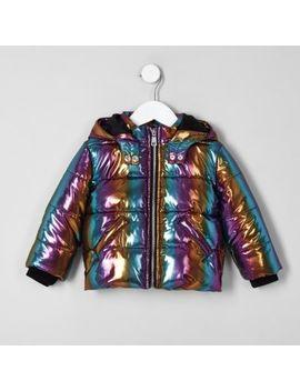 Mini Girls Blue Rainbow Hooded Puffer Jacket by River Island