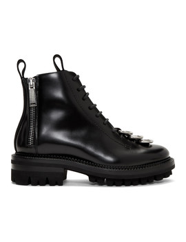 Black Leather Lace Up Boots by Dsquared2