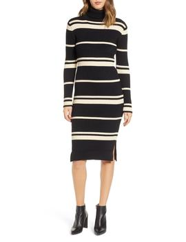 Stripe Turtleneck Dress by J.O.A.