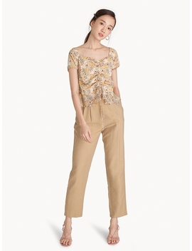 Center Ruched Peplum Blouse   Beige by Pomelo