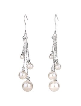 Ele Queen Women's Crystal Simulated Pearl 4 Chain Bridal Long Dangle Hook Earrings Ivory Color by Ele Queen