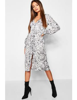 Snake Print Blouson Sleeve Button Midi Dress by Boohoo
