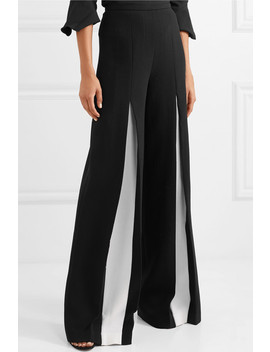 Burton Two Tone Wool Crepe Wide Leg Pants by Roland Mouret