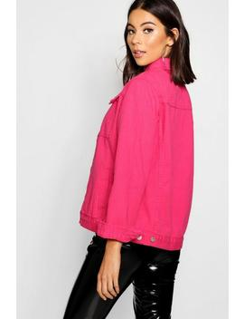 Hot Pink Denim Jacket by Boohoo