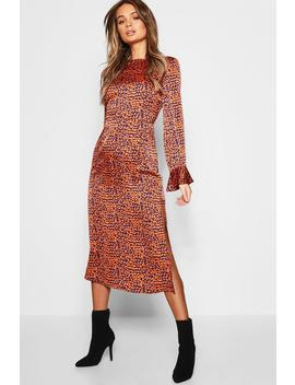 Leopard Satin Flute Sleeve Midaxi Dress by Boohoo
