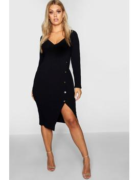 Plus Ribbed Button Wrap Dress by Boohoo
