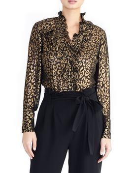 Metallic Tuxedo Blouse by Rachel Roy Collection