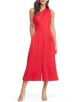 Carmen One Shoulder Crepe Jumpsuit by Gal Meets Glam Collection