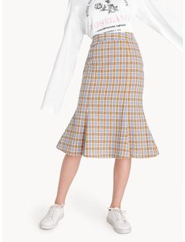 Midi Tartan Pencil Skirt by Pomelo