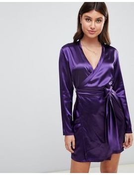 Boohoo Satin Wrap Long Sleeve Mini Dress In Purple by Boohoo