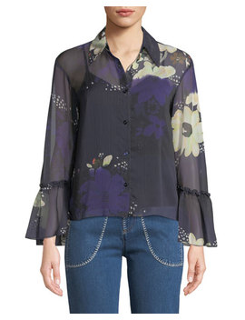 Floral Print Chiffon Flutter Sleeve Top by See By Chloe