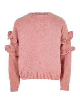 Girls Pink Frill Chenille Knit Jumper by River Island
