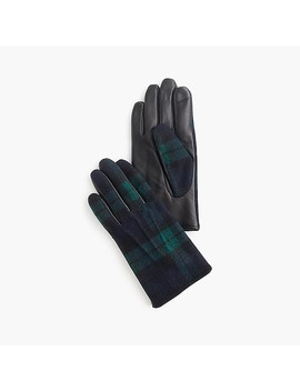 Ludlow Leather Black Watch Gloves by J.Crew