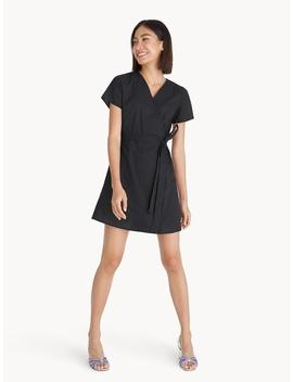Mini Polka Dot Wrap Dress   Black by Pomelo