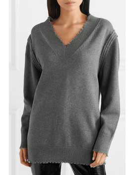 Distressed Cotton Blend Sweater by T By Alexander Wang