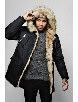 Parka With Faux Fur Lining And Hood by Boohoo